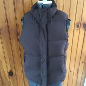 LLBean woman's small snap and zip front down vest